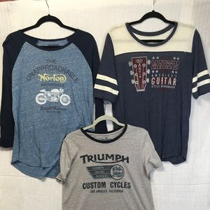 3 graphic tees - Lucky Brand size large